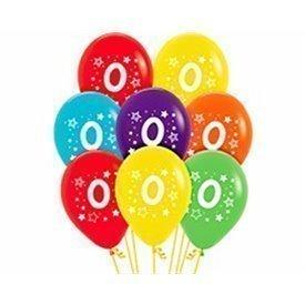 Globos Serigrafiado Número 0 De 30 cm aprox Colores Surtidos Solidos (10 ud)