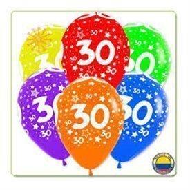 Globos Serigrafiado  Número 30 De 30 cm aprox Colores Surtidos Solidos /10 ud/R12-Nº30 Amscan
