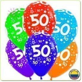 Globos Serigrafiado  Número 50 De 30 cm aprox Colores Surtidos Solidos /10 ud/