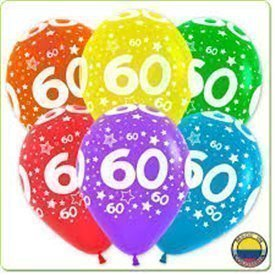 Globos Serigrafiado  Número 60 De 30 cm aprox Colores Surtidos Solidos /10 ud/R12-Nº60 Sempertex