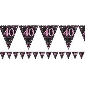 Banderin triangulos 40 Prismatic Rosa 4 metros