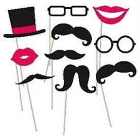 Accesorios Photocall palito Con bigotes y Bocas y Gafas998557 Amscan