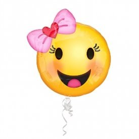 Globo Emoji Niña Sonriente 45 cm ( Empaquetado)