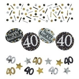 Confeti Happy 40 Birthday Prismatic Plata/oro (34gr)360186 Amscan