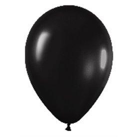 Globos Negro Metalizado R12 de 30 cm aprox (50 ud)