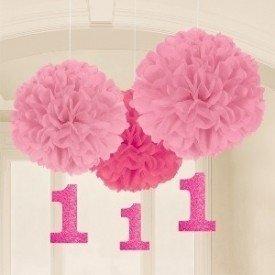 Fluffy Pompom Colgantes Color Rosa Con Numero 1 (3 de 40cm y Nº de 17.8 cm )180028 Amscan