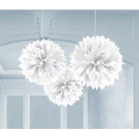 Fluffy PomPom Colgante Color Blanco (3 de 40,6 cm)