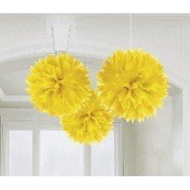 Fluffy PomPom Colgante Color Amarillo (3 de 40,6 cm)