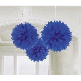 Fluffy PomPom Colgante Color Azul Fuerte (3 de 40,6 cm)