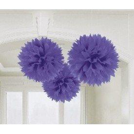 Fluffy PomPom Colgante Color Morado (3 de 40,6 cm)