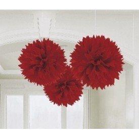 Fluffy PomPom Colgante Color Rojo (3 de 40,6 cm)