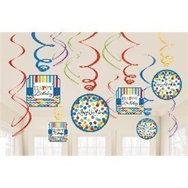 Decoracion colgante espirales Happy Birthday (12)670471 Amscan