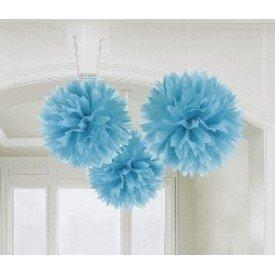 Fluffy PomPom Colgante Color Azul Caribe (3 de 40,6 cm)18055-54 Amscan
