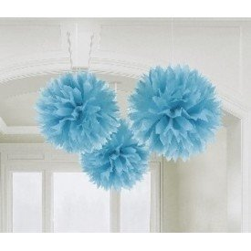 Fluffy PomPom Colgante Color Azul Caribe (3 de 40,6 cm)