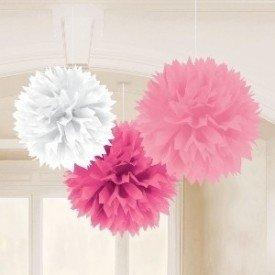 Fluffy PomPom Colgante Color Rosa/Blanco (Contiene: 1 x 40cm, 1 x 33cm, 1 x 23cm)
