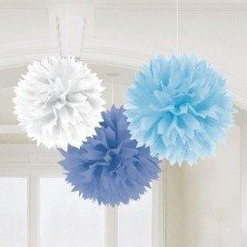 Fluffy PomPom Colgante Color Azules / Blanco (Contiene: 1 x 40cm, 1 x 33cm, 1 x 23cm)181046 Amscan