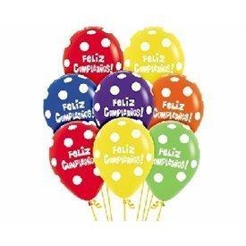 Globos Serigrafiado Feliz cumpleaños puntos blancos De 30 cm aprox Colores Surtidos /12 ud/