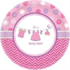 Platos Baby shower Girl Pink de 17 cm aprox. (8)