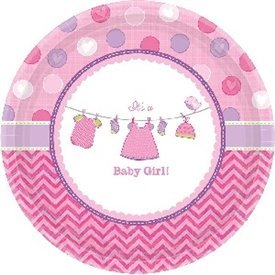 Platos Baby shower Girl Pink de 17 cm aprox. (8)