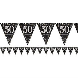 Banderin triangulos 50 Prismatic Plata/oro 4 metros