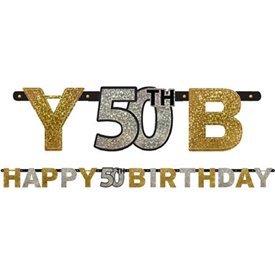 Banderin 50 cumpleaños plata/oro