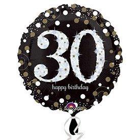 Globo 30 Cumpleaños de Foil Prismatic Plata/oro (Empaquetado)