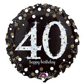 Globo 40 Cumpleaños de foil Prismatic Plata/oro (Empaquetado)