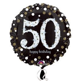 Globo 50 Cumpleaños de Foil Prismatic Plata/oro (Empaquetado)