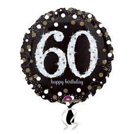 Globo 60 Cumpleaños de Foil Prismatic Plata/oro (Empaquetado)