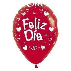 Globos Serigrafiado diseño Feliz día de 30 cm aprox Color Rojo solido (10 ud)R12-DIA Serpemtex
