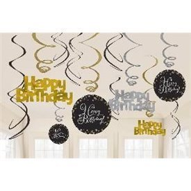 Decoracion Colgante Prismatic Plata/oro Happy Birthday (6x2)