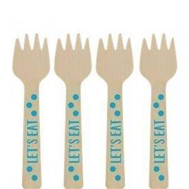 Mini tenedor Madera Puntos Azules (12)