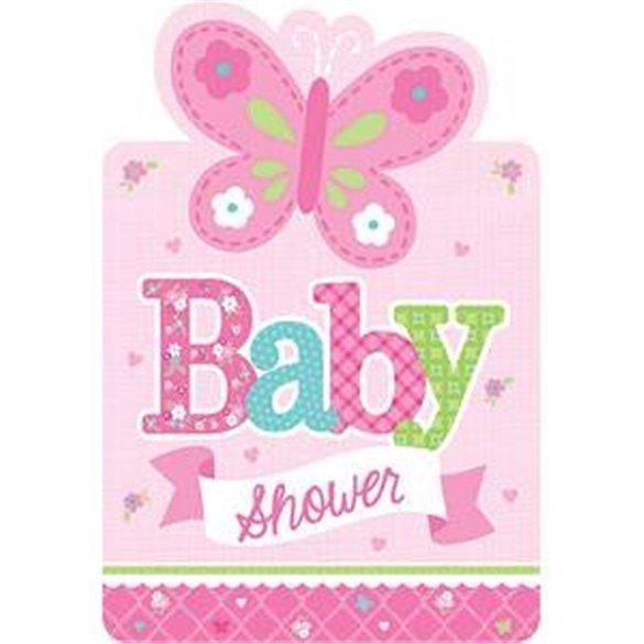Invitaciones Baby Shower Girl 8 Preciosas Invitaciones Con Forma C