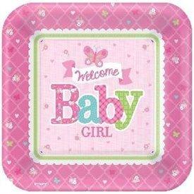 Platos Bienvenida Baby Girl 27 cm (8)591458 Amscan