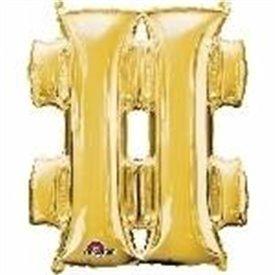 Globo Simbolo almohadilla Mini de Color Oro (40 cm Aprox)