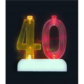 Vela Número 40 de luz led.UN-37544 Unique