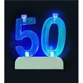 Vela Número 50 de luz led.UN-37545 Unique