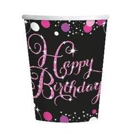Vasos Happy Birthday Prismatic Rosa/Negro (8)9900573 Amscan
