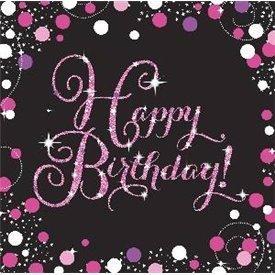 Servilleta Happy Birthday Prismatic Rosa/Negro (16)9901182 Amscan