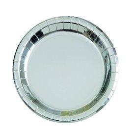 Platos Plata Brillo de 23 cm (8)UN-32285 Unique
