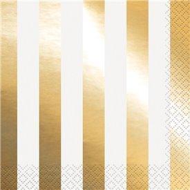 Servilletas Rayas Oro Brillo (16)UN-32312 Unique