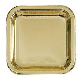 Platos Cuadrado Oro Brillo de 23 cm (8)UN-32335 Unique