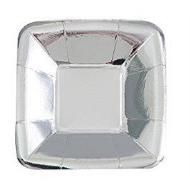 Platos Plata brillo Aperitivo Cuadrados (8)UN-51674 Unique