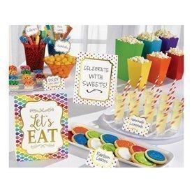Kit decoracion Buffet Colores (12 Piezas 3 Grandes 3 Medianos 6 Pinchos)