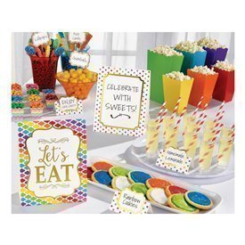 Kit decoracion Buffet Colores (12 Piezas 3 Grandes 3 Medianos 6 Pinchos)281002 Amscan