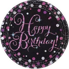 Platos Happy Birthday Prismatic Rosa/Negro 23cm (8)9900571 Amscan