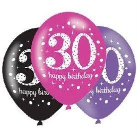 Globos Happy Birtdhay 30 Prismatic Rosa/Negro/Morado (6)