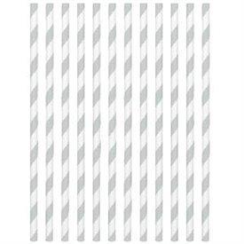 Pajitas con rayas Plata (24)400074-18 Amscan
