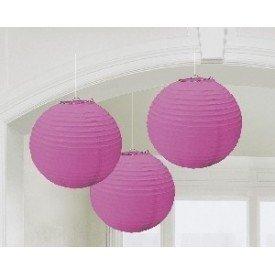 Linternas Colgantes Color Rosa (3 de 20,4 cm)