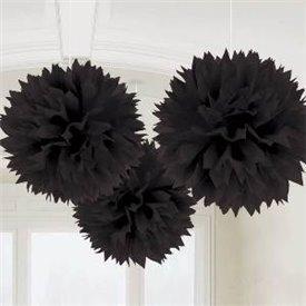 Fluffy PomPom Colgante Color Negro (3)